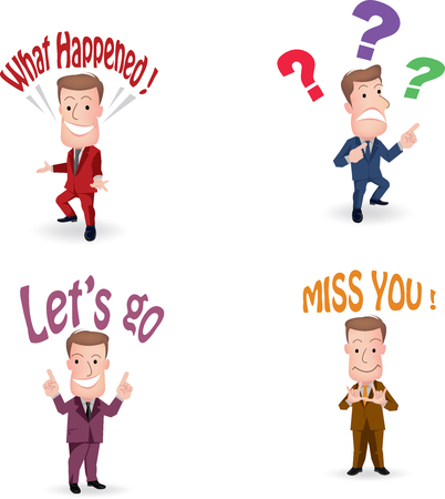 expressing: Set of cut businessman or office worker pose in various characters expressing feeling and emotion in communication concept.vector Illustration