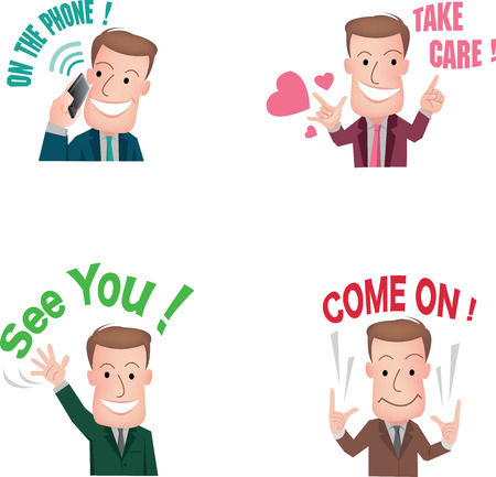 businessman or office worker pose in various characters expressing feeling and emotion in communication concept. vecter Illustration