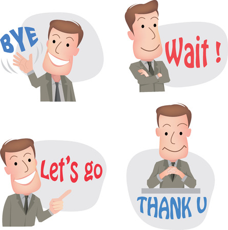office worker: businessman or office worker pose in various characters expressing feeling and emotion in communication concept. vecter Illustration