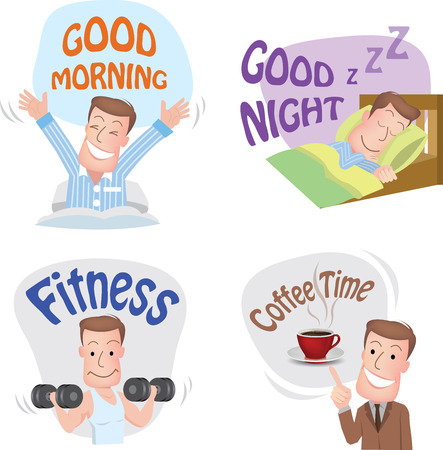 wake up happy: man pose in various characters expressing feeling and emotion in communication concept. vecter  Image ID:457363402