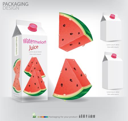 Packaging design for watermelon juice illustration Illustration