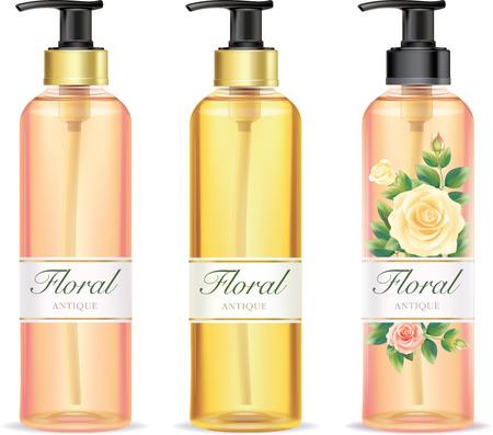 Rose lotion bottle.illustration vector