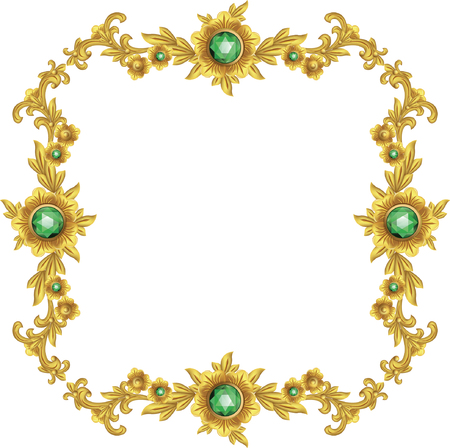 Gold vintage baroque element ornament retro pattern antique style illustration.