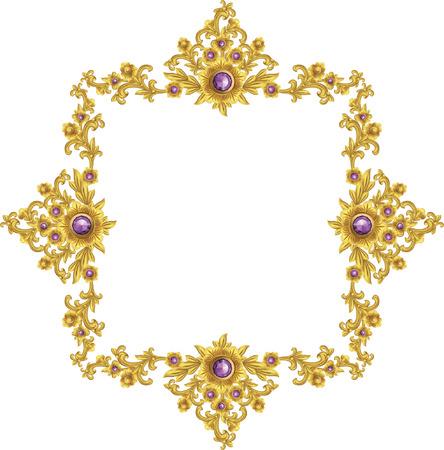 Gold vintage baroque element ornament retro pattern antique style illustration