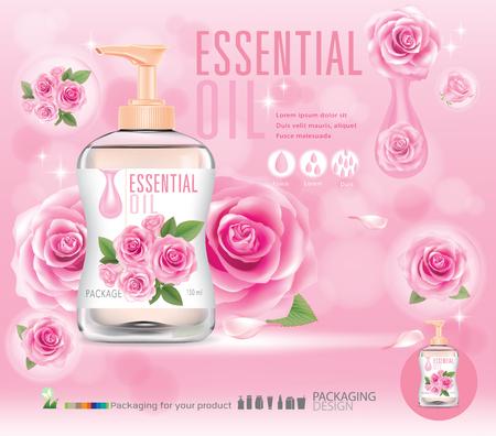 Bottle of rose oil.illustration vector Illustration