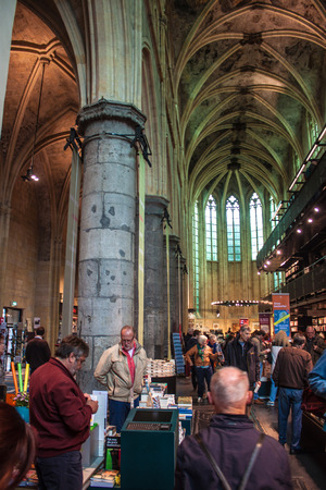 """converted: MAASTRICHT, JUN 1: Dominican church converted into a bookstore in Maastricht, Netherlands on Jun 1, 2013. In 2008 The Guardian called it the """"best bookstore in the world"""". Editorial"""