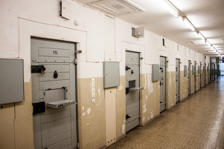 prison wall: Cells at Berlin-Hohenschonhausen Memorial, former prison of state police Stasi during communist era.