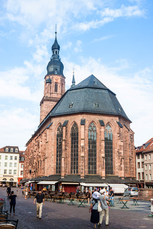 mentioned: HEIDELBERG - AUGUST 4: Church of the Holy Spirit in Heidelberg, Germany on August 4, 2013. The Church of the Holy Spirit is first mentioned in 1239.