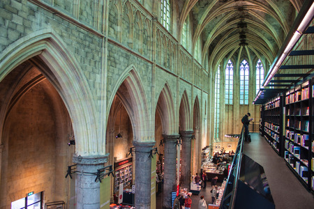 """MAASTRICHT, JUN 1: Dominican church converted into a bookstore in Maastricht, Netherlands on Jun 1, 2013. In 2008 The Guardian called it the """"best bookstore in the world�. Editorial"""