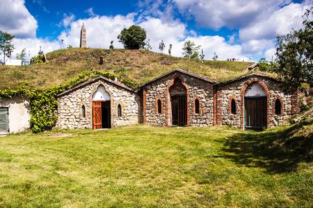 Wine cellars in village Kobyli, southern Moravia, Czech Republic