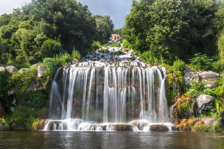 Artificial waterfall at the garden of Palace of Caserta in southern Italy