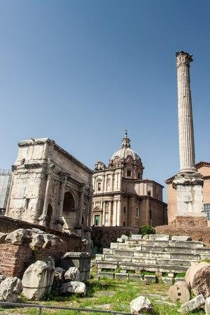 severus: Arch of Septimius Severus and church of Santi Luca e Martina at the Roman Forum, Rome