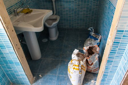 NAPLES, ITALY- JUNE 26, 2014: Opened but still unfinished public toilet in Naples, Italy. Southern Italy is known for not conscientious work.