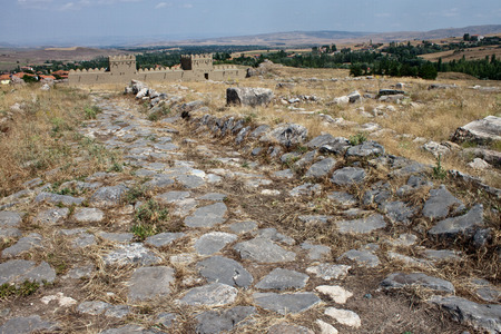 Reconstruction of a part of a fortification at ruins of old Hittite capital Hattusa, Turkey