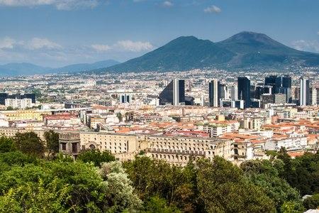 Skyline of Naples, Mount Vesuvius in background, Italy photo