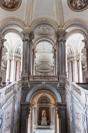 CASERTA, ITALY -  JUNE 1: View over main stairway in Palazzo Reale in Caserta on June 1, 2014. It was the largest palace erected in Europe during the 18th century.