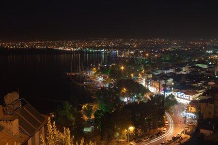 fethiye: Aerial view of Fethiye at night, Turkey