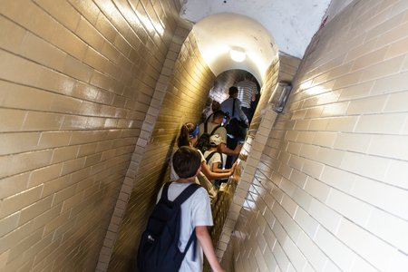 in copula: ROME, ITALY - JUNE 25: Tourists on their way to the copula of St. Peters Basilica in Vatican on June 25, 2014. St. Peters Basilica is one of the main tourist attractions of Rome.