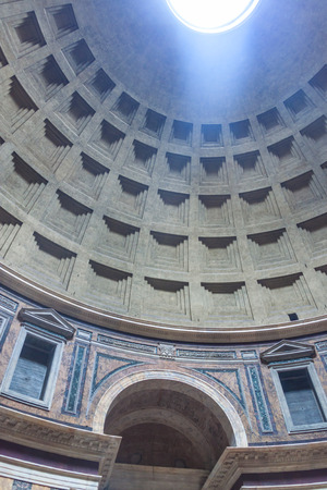 2nd century: Cupola of Pantheon in Rome, Italy. Pantheon is a famous monument of ancient Roman culture, the temple of all the gods, built in the 2nd century.