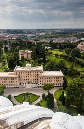 Aerial view of Vatican gardens