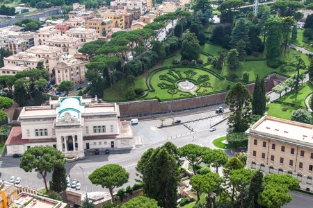 Aerial view of Vatican gardens and railway station photo
