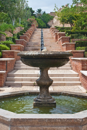 alcazaba: Gardens and fountains at fortress Alcazaba in Almeria, Spain