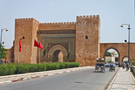 bab: MEKNES - JULY 28: The main gate of the city on July 28, 2010 in Meknes, Morocco. Meknes is one of the oldest imperial city in Morocco. Editorial