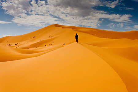 deserts: Man lost in desert dunes Stock Photo
