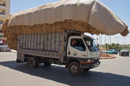bonne aventure: MEKNES, MAROC - 29 juillet: surchargé camion sur le 29 juillet 2010 à Meknès, au Maroc. Meknès est une ville impériale de 1000 ans au Maroc.