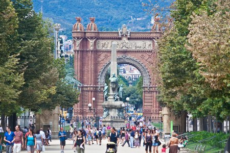 BARCELONA, SPAIN - AUGUST 15: Arc de Triomf on August 15, 2010 in Barcelona, Spain. Designed by Josep Vilaseca, it was built for the 1888 Universal Exposition as its main access gate.