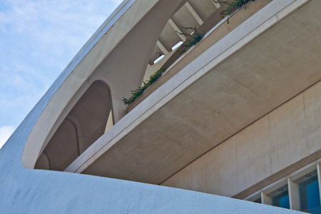 VALENCIA, SPAIN - JULY 23: Detail of a building at City of Arts and Sciences in Valencia on July 23, 2010 in Valencia, Spain. Designed by Santiago Calatrava and Felix Candela,