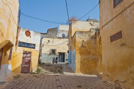 Narrow alley in medina of Meknes, Morocco Editorial