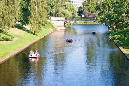 linguist: RIGA, LATVIA - JULY 16: Boating in Kronvalda park in Riga, Latvia on July 16, 2010. Park is named after the Latvian linguist Atis Kronvald. Editorial
