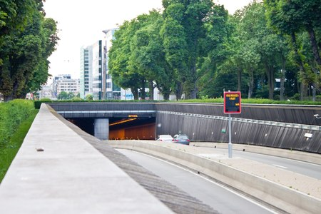 facto: BRUSSELS - JULY 17: Highway tunnel in center of the city on July 17, 2010 in Brussels, Belgium. Brussels is the capital of Belgium and the de facto capital of the European Union.