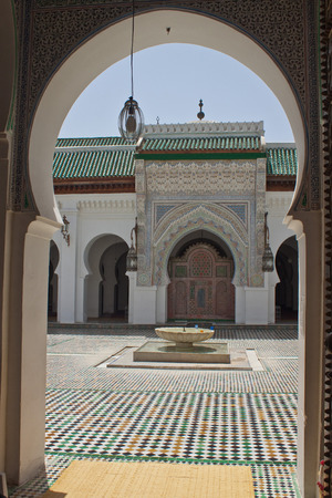 coran: View of a mosque courtyard in Fez, Morocco