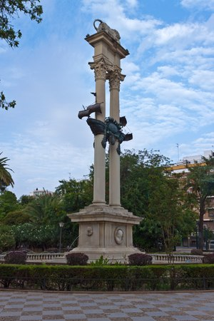 murillo: Columbus Monument in Gardens of Murillo in Seville, Andalusia, Spain