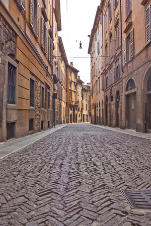 laterns: View of a street in Bergamo, Italy Stock Photo
