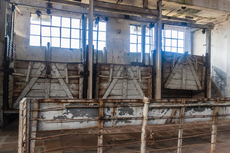 desolated: FRAY BENTOS, URUGUAY - FEB 18, 2015: Interior of a former meat factory, now Museum of Industrial Revolution. Editorial