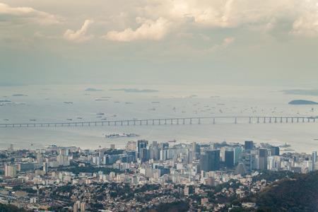 pres: Aerial view of Rio de Janeiro, bridge Punte Pres Costa E Silva, Brazil