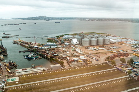 montevideo: Aerial view of a port in Montevideo, Uruguay