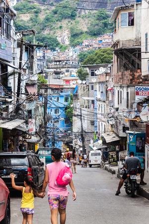 RIO DE JANEIRO, BRAZIL - JAN 29: Street in favela Rocinha in Rio de Janeiro, Brazil