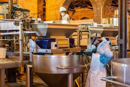 aging american: CHACRAS DE CORIA, ARGENTINA - AUG 1, 2015: Wine production in winery Altavista in Chacras de Coria village, near Mendoza, Argentina Editorial