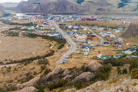 chalten: Aerial view of El Chalten village, Argentina Stock Photo