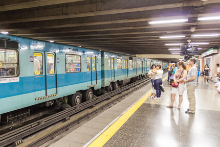 santiago: SANTIAGO, CHILE - FEB 28, 2015: View of a metro station in Santiago de Chile
