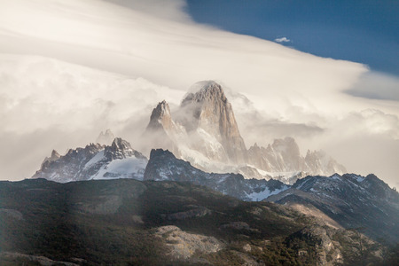 fitz: Fitz Roy mountain in clouds, National Park Los Glaciares, Argentina