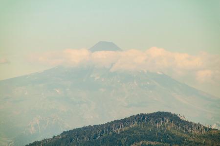 crevasse: Villarica volcano, Chile. Stock Photo