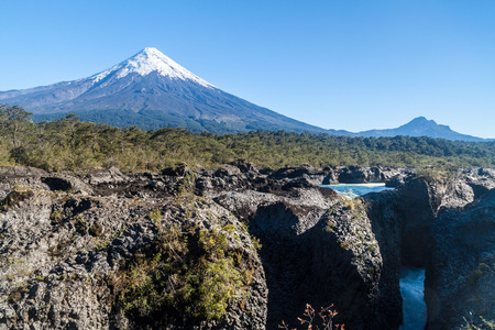 rosales: Saltos del Petrohue waterfalls and volcano Osorno in National Park Vicente Perez Rosales, Chile
