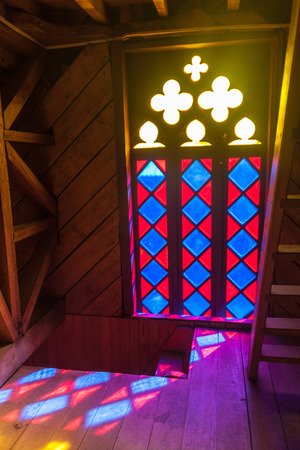 woodcraft: ANCUD, CHILE - MARCH 20, 2015: Interior of a church in former convent Inmaculada Concepcion in Ancud, Chiloe island, Chile.