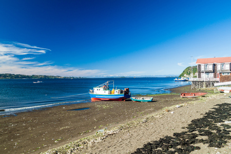 woodcraft: Boats in Achao village, Quinchao island, Chile Stock Photo