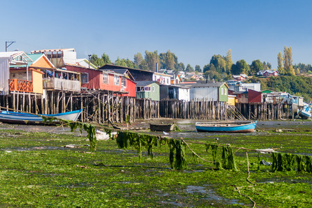 woodcraft: Palafitos (stilt houses) in Castro, Chiloe island, Chile Editorial